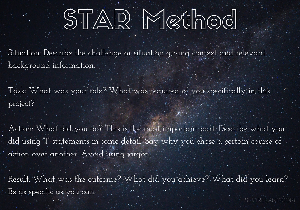"Background image of stars in space. Text reads: STAR Method: Situation: Describe the challenge or situation giving context and relevant background information. Task: What was your role? What was required of you specifically in this project? Action: What did you do? This is the most important part. Describe what you did using ""I"" statements in some detail. Say why you chose a certain course of action over another. Avoid using jargon. Result: What was the outcome? What did you achieve? What did you learn? Be as specific as you can. slipireland.com"