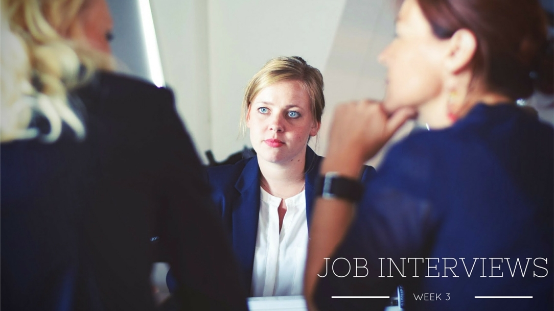 image of a woman being interviews by two women, text reads: week 3 job interviews.