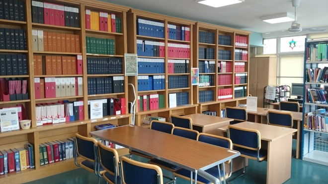 Image of desks and bookcases in St. Michael's Hospital Library