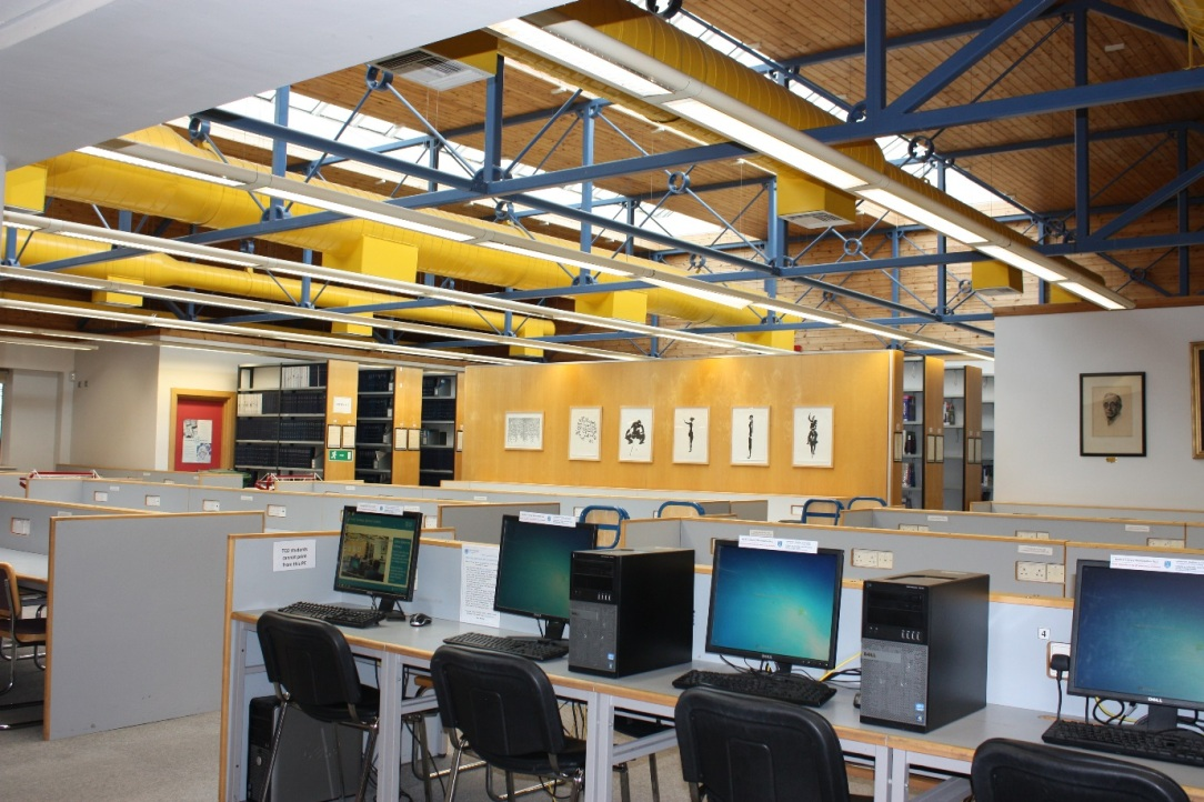 PC's in the John Stearne medical library.