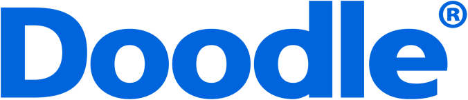 "logo of Doodle - blue text reads ""doo"