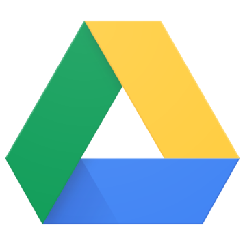 Google Drive logo - a green line a yellow line and a blue line form a triangle.