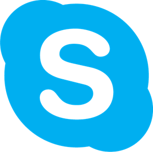 "logo of skype - white ""S"" in blue circle."