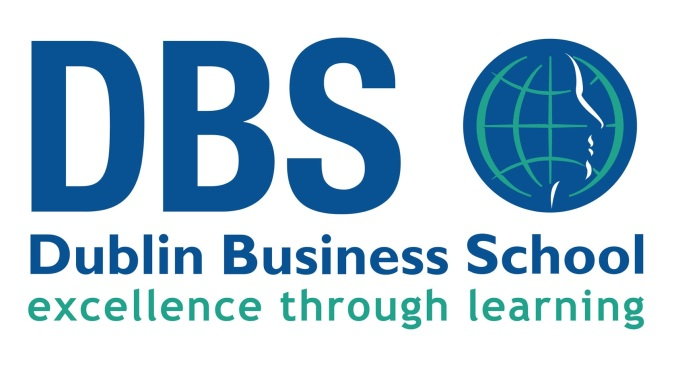 Dublin business school logo, tagline reads: excellent through learning.