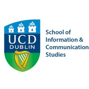 Logo with gree, dark blue and light blue crest with gold hard and three Dublin castles logo for UCD Dublin. Tesxt reads: School of Information & Communication Studies.